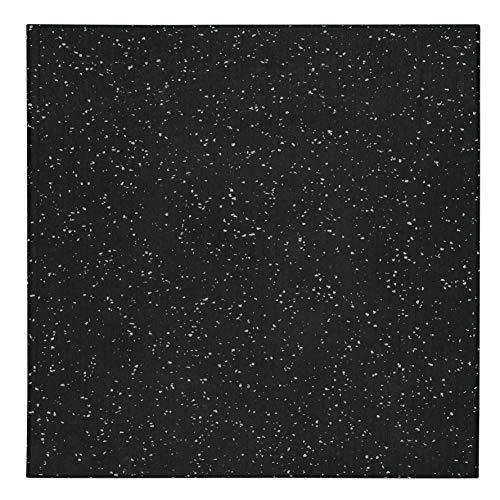 "Genaflex Pro Rubber Heavy Duty High Density Shock Absorbent Laminated Gym Tile - 1"" Thick X 20"" W X 20"" L - 2.7 Sq. Ft. (4 Tiles - 10.8 Sq. Ft, Grey/Black)"