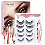 Magnetic Eyelashes with Eyeliner Kit, 5 Pairs 3D False Lashes Natural Look with Tweezer, Waterproof, Easy to Apply,Reusable, Long Lasting and No Glue Needed Fake Eyelashes Pack