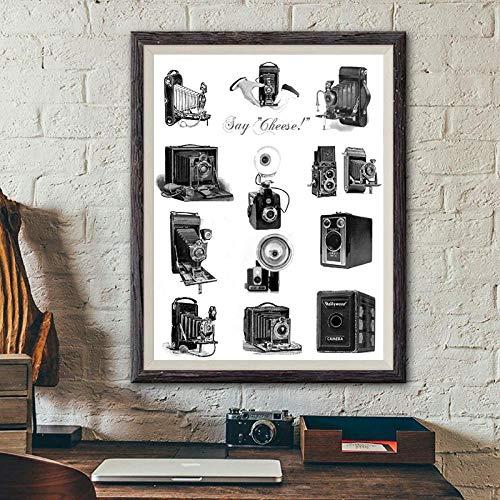 ZYQYQ Cámaras antiguas Ilustración Impresiones de carteles Amantes de la fotografía Cámaras vintage Arte Pintura en lienzo Imagen Decoración de la pared del hogar 40x60cm Sin marco