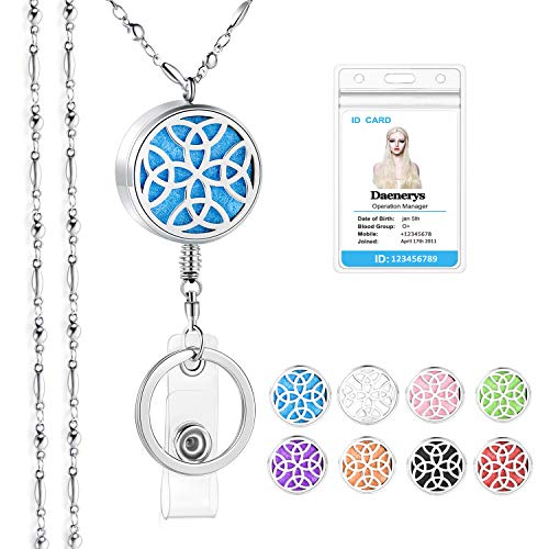 SAM & LORI Strong Lanyard Necklace Stainless Steel Beaded Chain Necklace Silver for ID Badge Holder and Key Chains Non Breakaway Inspirational Charms Pendant for Women Nurse Retractable-Celtic Knot