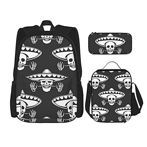 Regreso a la escuela Suministros bigote cráneo en sombrero patrón estudiantes 3 en 1 mochila escolar Set mochila ligera /bolsa de almuerzo/estuche para niñas