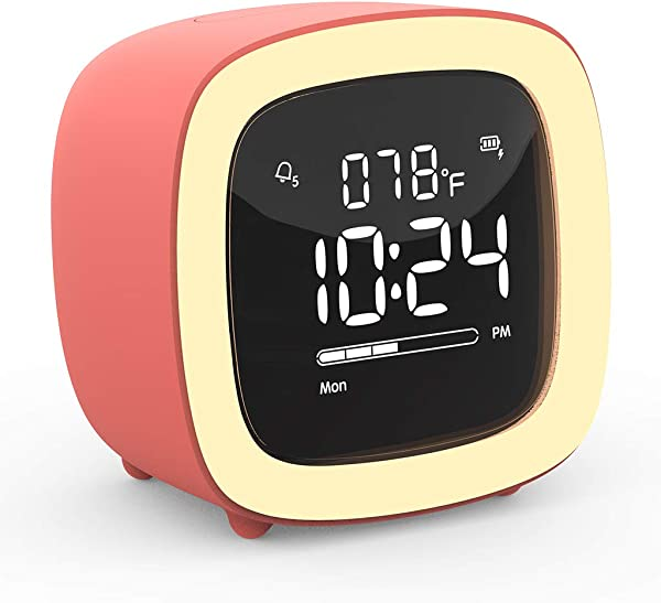 Kids Cute TV Night Light Alarm Clock For Girls Boys Teens Bedroom Bedside Desk Rechargeable Battery Operated Alarm Clock With Sleep Timer Indoor Thermometer Living Coral