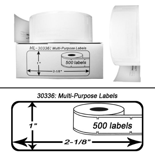 """12 Rolls; 500 Labels per Roll; Compatible with DYMO 30336 Multipurpose Labels (1"""" x 2-1/8"""") - BPA Free!"""