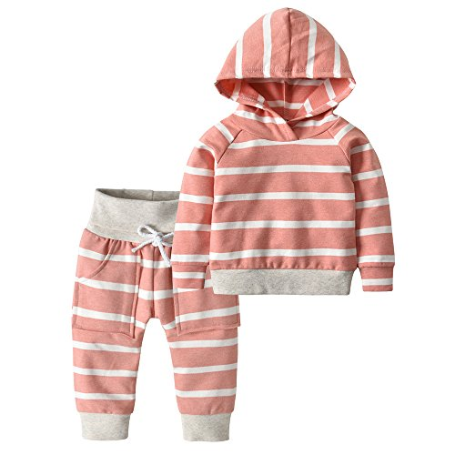 Toddler Infant Baby Boys Girls Stripe Long Sleeve Hoodie Tops Sweatsuit Pants Outfit Set ((9-12 Months), Dark Pink Stripe)
