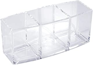 Clear Acrylic Cosmetic Organizer 3 Compartments Makeup Brush Storage Box Holder Case Rack