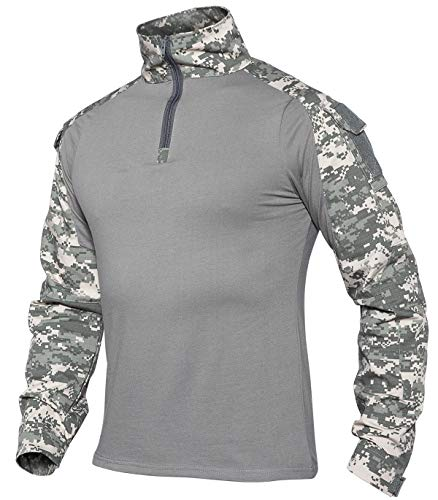 XKTTAC Hombres Militar Camisa Manga Larga Camuflaje Camo Camisetas Combat (Camuflaje-ACU, M)