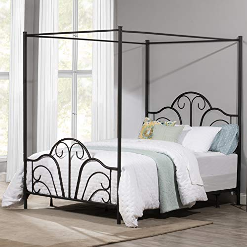 Hillsdale Furniture Hillsdale Dover Queen Canopy Bed, Textured Black