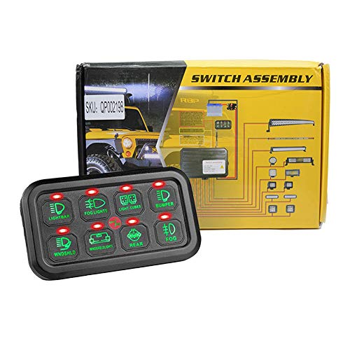 8 Gang Switch Panel, Universal Schalt Control Box Button Switch Pod Touch-Switch Box für LKW-Jeep ATV UTV SUV Auto