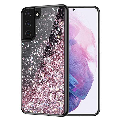 Caka Glitter Case for Galaxy S21 Plus Glitter Case Liquid Bling Sparkle for Girls Women Black Fashion Flowing Quicksand TPU Phone Case for Galaxy S21 Plus 6.7 inches 2021 (Rose Gold)
