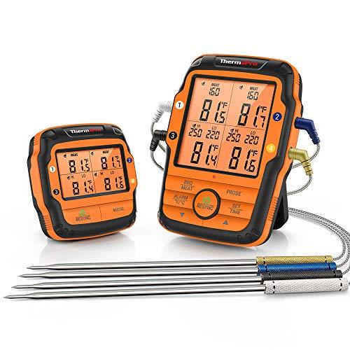 ThermoPro TP27C 150m Funk Grillthermometer mit 4 Sonden Fleischthermometer Bratenthermometer IPX4 Wasserdicht große LCD-Anzaige Küchenthermometer für BBQ, Gasgrill, Dutch Oven