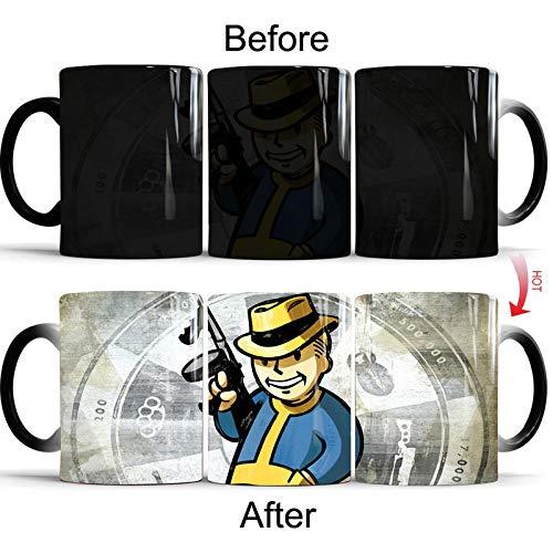Fallout 4 Pip-Boy Magic Mug Farbwechsel Tasse Keramik Verfärbungen Kaffee Tee Milch Tassen Neuheit Geschenke 350ml Schwarz
