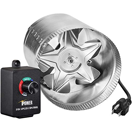 iPower 4 Inch 100 CFM Booster Fan Inline Duct Vent Blower with Variable Speed Controller Adjuster, Intake 5.5' Grounded Power Cord for HVAC Exhaust, Low Noise, Silver