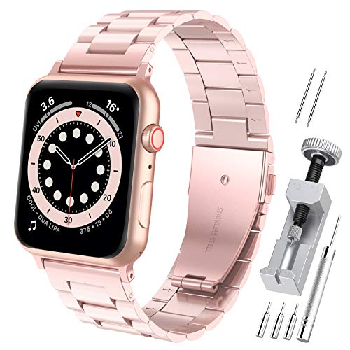 """Hianjoo Correa Compatible con Apple Watch 38mm 40mm, Pulsera de Repuesto de Acero Inoxidable Hebilla Metal Banda Correas Compatible con iWatch Series SE 6 5 4 3 2 1, 5.5""""-8.1"""", Oro Rosa"""