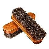 gracosy Cabello de Caballo Zapatos Cepillos, 2 Pcs de Madera de Gran Limpieza Pulido Cepillos de Caballo para Botas Zapatos limpia,brillo, Buff & Polaco piel chaquetas, abrigos, sombreros, cinturones