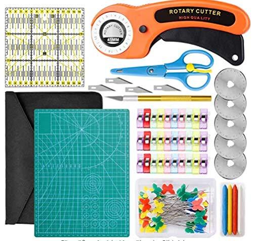 TWBEST Juego de cortador de tela A4, alfombrilla de corte, hojas de repuesto, pinzas de tela, regla de patchwork, cuchillo, alfileres, etc. 100 piezas de accesorios de costura para patchwork
