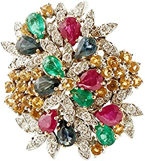 Anello con Diamanti, Rubini, Smeraldi, Oro Bianco