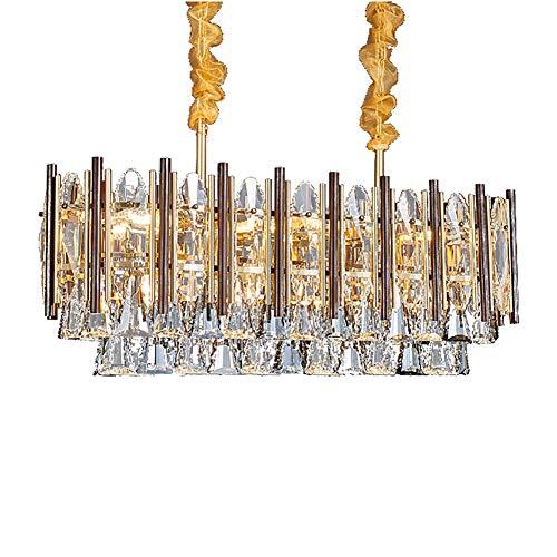 Moderno Lujo Cristal Lámparas Con 8-luces,E14 Nórdico Oval Gotas Iluminación Colgante Creativo Lámpara De Techo Para Restaurante Dormitorio,Negro+Dorado