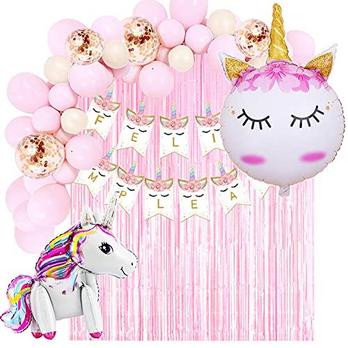 Decoración Cumpleaños de Unicornio para Fiesta de Niña y Mujer-Guirnalda de Globos, Pancarta Feliz Cumpleaños, Cortina de Flecos, Globos de Aluminio y Globos de Látex con Confeti ✅