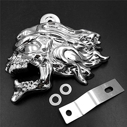 HTTMT MT246-009-CD Chrome Ghost Head Wind head horn cover Compatible with 1992 and up Harley-Davidson with side mount Inchescowbell Inches and all V-rod's