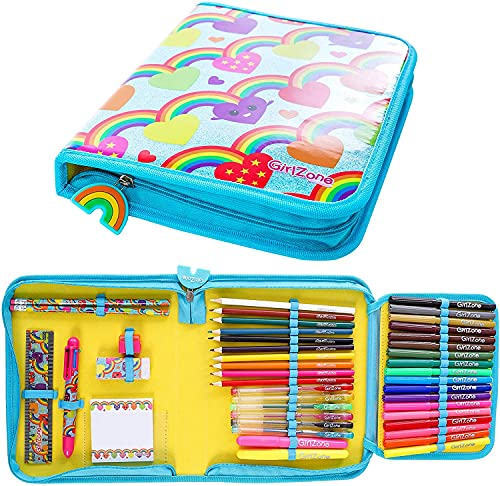 GirlZone: Rainbow Jumbo Arts and Crafts Filled Stationery Pencil Case for...