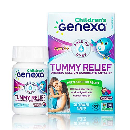 Genexa Tummy Relief for Children – 30 Chewable Tablets | Calcium Carbonate Antacid, Non-GMO Verified, Certified Gluten-Free & Certified Vegan | Free of Talc & Dyes
