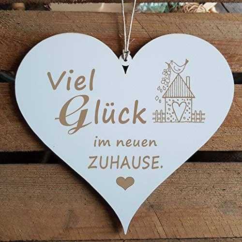 Schild Herz VIEL GLÜCK IM NEUEN ZUHAUSE mit Motiv Vogelhaus ca. 13 x 12 cm
