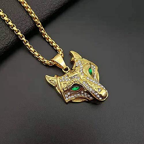 DYKJ Collar Colgante de Acero Inoxidable 316L Vikingos nórdicos de Oro con circón Cabeza de Lobo...