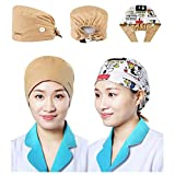 Ssshcny Working Caps with Buttons, Adjustable Cotton Bouffant Hats-Elastic Suitable for Men and Women, One Size