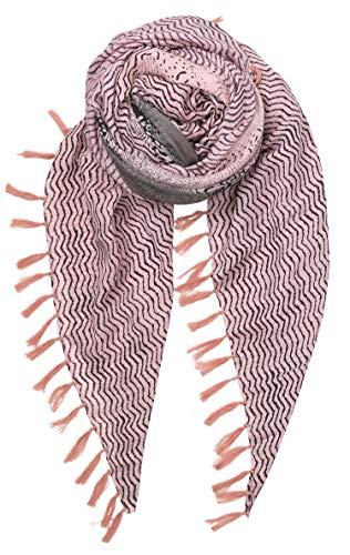 Becksöndergaard Damen Schal Detailed Snake Rosa - Gestreiftes Tuch mit Schlangen Druck und Fransen Synthetisch Größe: 180x130 cm - 1901761038-354