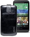 Original Suncase® Etui Tasche für HTC Desire 510 | HTC Desire 526G Dual SIM | ZTE Blade V6 Leder Etui Handytasche Ledertasche Schutzhülle Hülle Hülle *Lasche mit Rückzugfunktion* rustik-schwarz