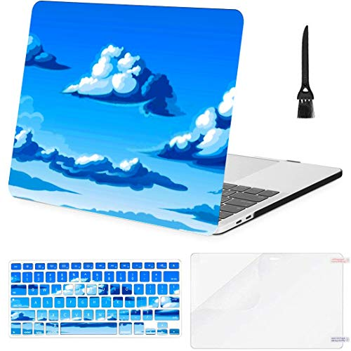 Macbook Pro Case Vector Clouds Macbook Pro 15'(NO CD-ROM,2016-2018 Ver) A1707/A1990 Plastic Case Keyboard Cover & Screen Protector & Keyboard Cleaning Brush
