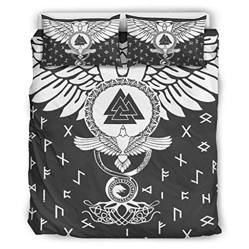 3Pc Bed Sheet Set Viking Ravens And Valknut Bedding Collections Premium Quality Wrinkle Resistant Deep Pocket for Home Bedroom white 90x90 inch