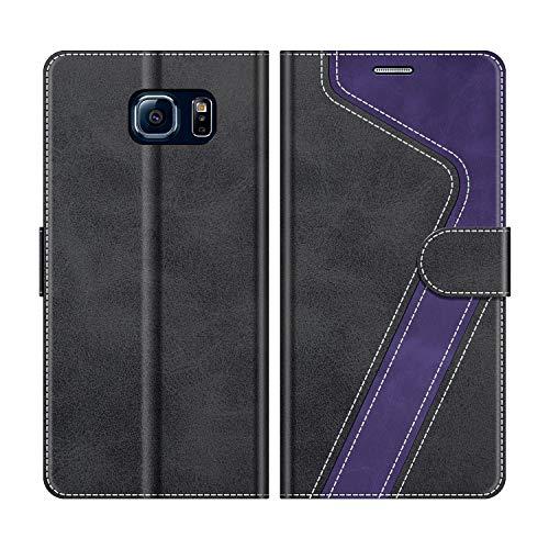 MOBESV Handyhülle für Samsung Galaxy S6 Hülle Leder, Samsung Galaxy S6 Klapphülle Handytasche Case für Samsung Galaxy S6 Handy Hüllen, Schwarz/Violett
