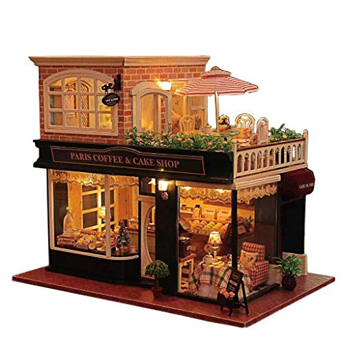 Architecture Model Building Kits with Furniture LED Music Box Miniature Wooden Dollhouse Romantic Cafe Series 3D Puzzle Challenge