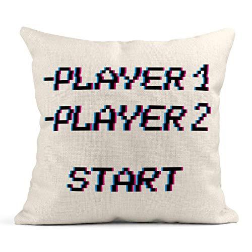 Dekokissen 8-Bit-Pixel-Sätze Player und Start Retro Game Interface Wettbewerb Gaming Glitch VHS-Effekt Leinen Kissen Home Dekorative Kissen