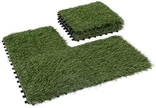GOLDEN MOON Artificial Grass Turf Tile Interlocking Self-draining Mat, 1x1 ft, 1.5 in Pile Height, 6 Pack