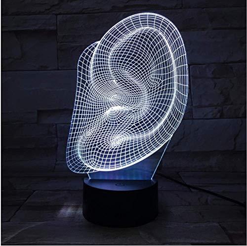 Kreatives Ohr 3D Nachtlicht LED Touch Light bunte Farbverlauf Haushaltskinder Baby Jahr Halloween Party Geschenk Beleuchtung