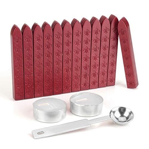 Mogokoyo 12 Stück Retro Stil Siegelwachs ohne Docht Schwertlilien Siegellack Set mit 1 Stück Wachs Schmelzen Löffel und 2 Stück Kerzen für Umschlag Briefkopf Geschenk (Rot)