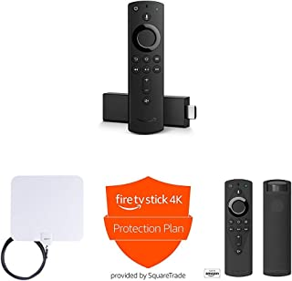 Fire TV Stick 4K + AmazonBasics HD Antenna + Protection Plan + Mission Cable Remote Cover (Black)