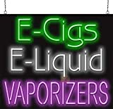 E-Cigs E-Liquid Vaporizers Neon Sign - 32' Wide x 27' high - Real, Hand Bent Neon Tubing - Green, White & Purple Letters