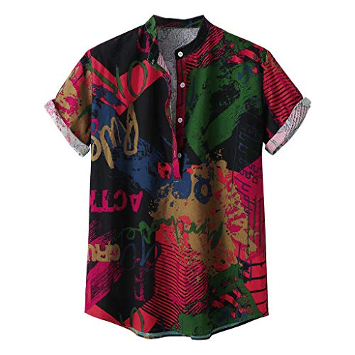 DeHolifer Herren Hemd, Männer Mode Graffiti Drucken Hemd, Kurzarm Revers Freizeit Herrenhemd Mode Lose Hemd Herbst Top Casual Knopf Hemd Slim Fit Atmungsaktiv Hemd