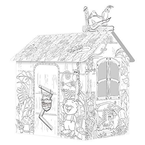 STKASE® Spielhaus aus Pappe Prinzessin Pappspielhaus zum Bemalen Haus Spielzeug Karton Prizessin Spielhaus Bauernhof aus Bastelkarton, bemalbar mit Wachs, Filz- und Buntstiften