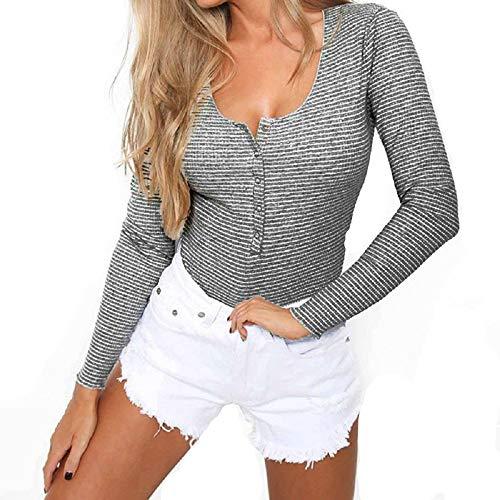 Smile Fish Damen Langarm Body mit U-Neck Sexy Streifen Frauen Metall Knopf Langarm Jumpsuit Bodysuit (Dunkelblau, S)