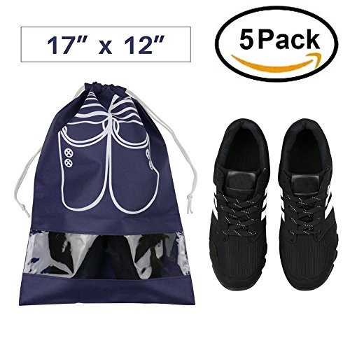 WESTONETEK Pack of 5 Portable Dust-proof Breathable Travel Shoe Organizer Bags for Boots, High Heel - Drawstring, Transparent Window, Space Saving Storage Bags, Large Size, Navy Blue