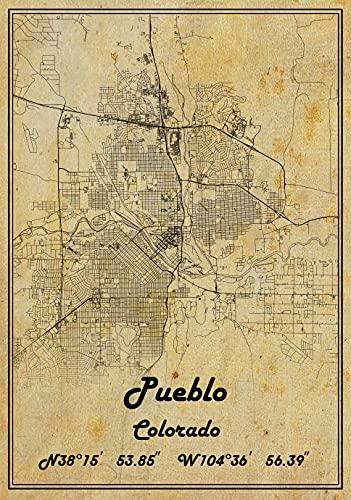 Pueblo Colorado USA Vintage Map Poster Pueblo Colorado USA Mapa Art Pueblo Colorado USA City Road Map Poster Vintage Regalo Mapa 25,5 x 35,5 cm