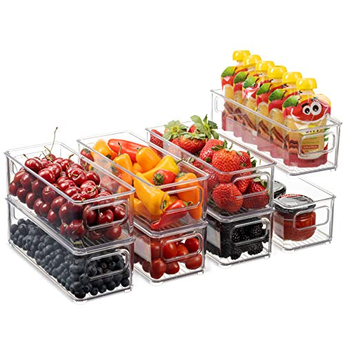 Set Of 8 Stackable Plastic Food Storage Bins - Refrigerator Organizer with Handles for Pantry, Fridge, Freezer, Kitchen, Countertops, Cabinets - Clear Plastic BPA Free Food Storage Rack