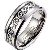 JewelryWe Schmuck Herren Wolframcarbid Ring Band Silber Schwarz Irish Celtic Knot Irischen Keltisch Knoten Drachen Jahrgang Hochzeit Größe 51