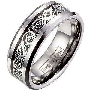 JewelryWe Schmuck Herren Wolframcarbid Ring Band Silber Schwarz Irish Celtic Knot Irischen Keltisch Knoten Drachen Jahrgang Hochzeit Größe 61