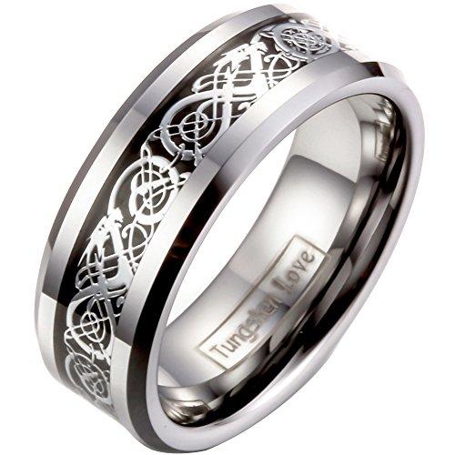 JewelryWe Schmuck Herren Wolframcarbid Ring Band Silber Schwarz Irish Celtic Knot Irischen Keltisch Knoten Drachen Jahrgang Hochzeit Größe 65