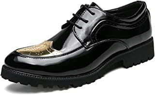 Shangruiqi Men's Business Oxford Casual Simple Classic British Style Outsole Carving Brogue Patent Leather Shoes Abrasion Resistant (Color : Gold, Size : 7 UK)